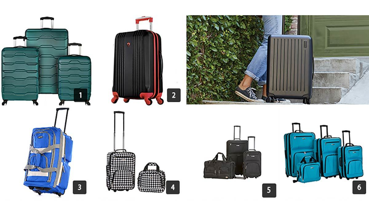Collage of various luggage pieces from The Home Depot photo