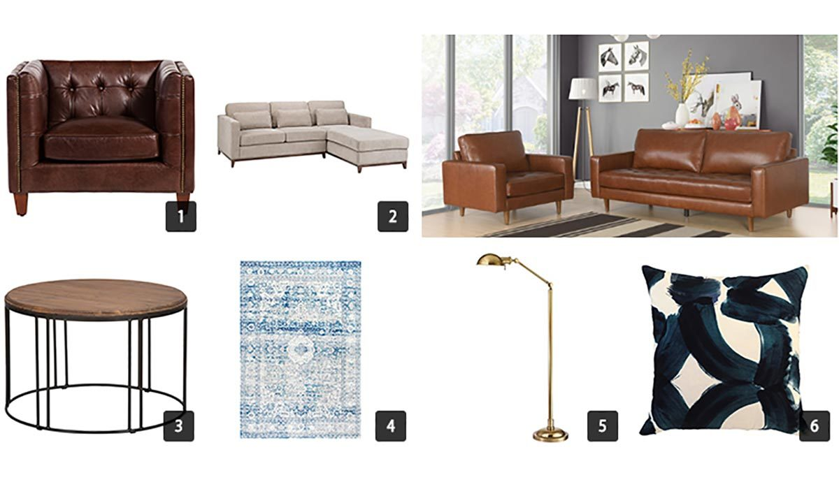 Collage of various living room furniture items from Houzz photo