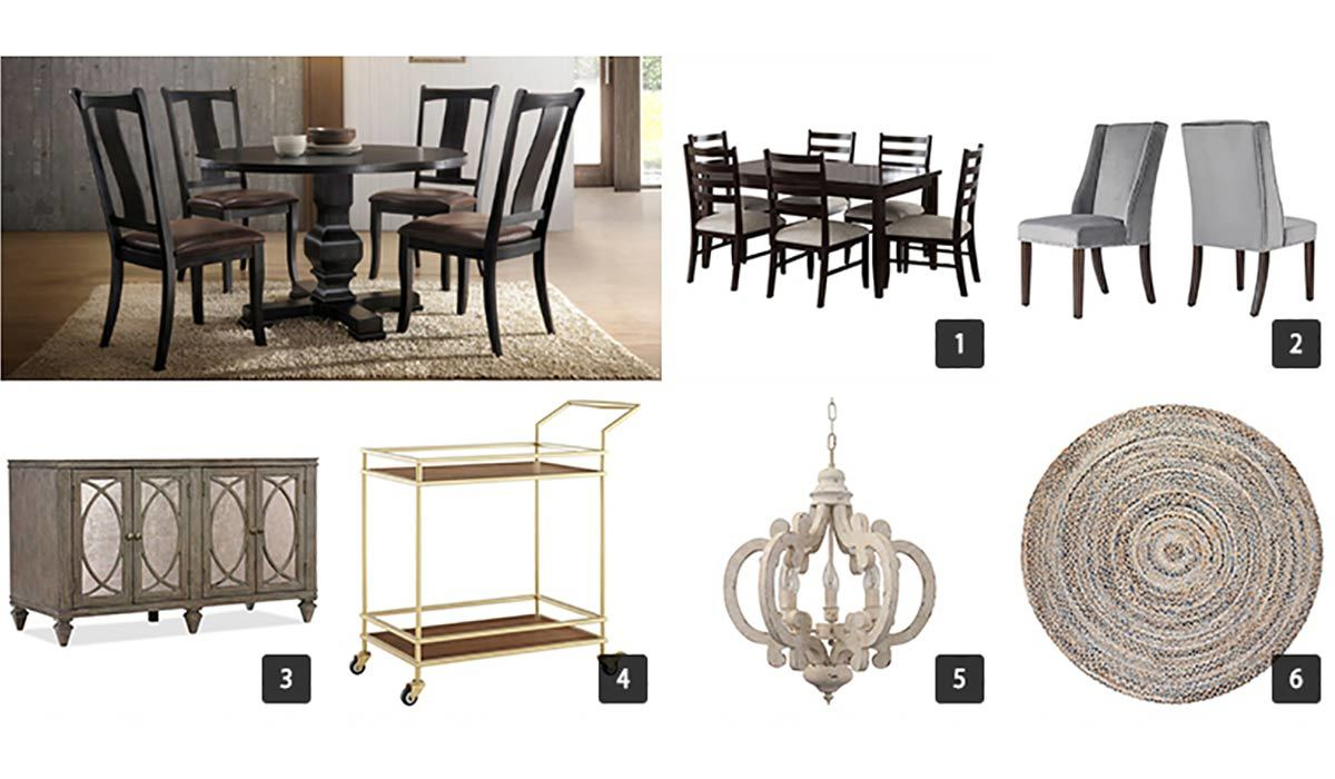 Collage of various dining room furniture items from Houzz photo