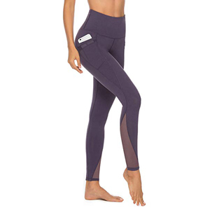 Purple high waist leggings with pockets and mesh detailing by AFITNE from Amazon photo