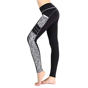 Black and gray workout leggings with pockets by Sugar Pocket from Amazon photo