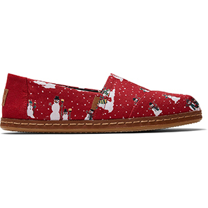 Red snowman print TOMS slip-on shoes with leather bottoms photo