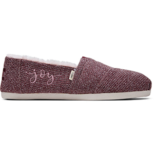 Burgundy sweater knit TOMS shoes with faux fur inside photo