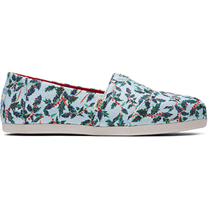 Light blue, green, and red holly print TOMS shoes photo