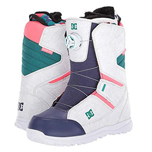 Teal, white, and pink snowboard boots photo