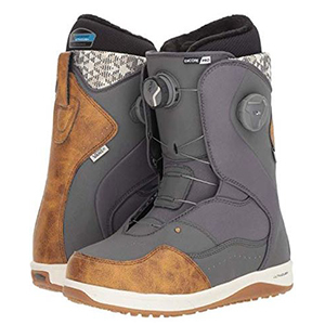 Brown and gray snowboard boots photo