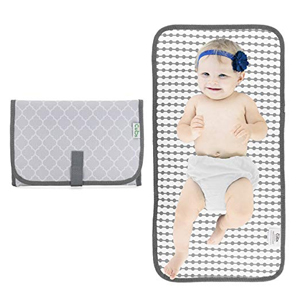 Gray and white portable changing pad from Amazon photo
