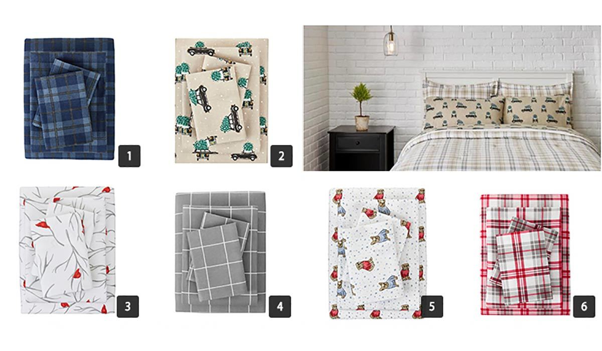 Collage of various flannel sheets from The Home Depot photo
