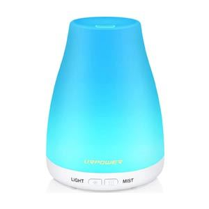 Blue hued essential oil diffuser from Amazon photo