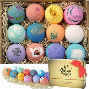 Box of bath bombs with varying scents and colors from Amazon photo