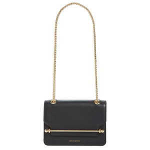 Black crossbody bag with gold chain and accents. photo