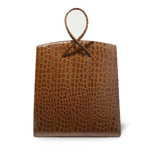 Brown croc-like leather tote bag with looped handle and shoulder strap. photo