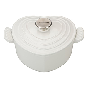 White heart-shaped Le Creuset cocotte from Nordstrom photo