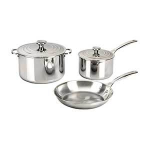 Silver Le Creuset 5-piece stainless steel cookware set from Nordstrom photo