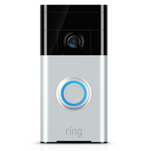 Gray and black Ring video doorbell from The Home Depot photo