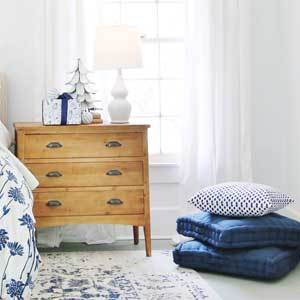 Blue accented bedroom with holiday decor. photo