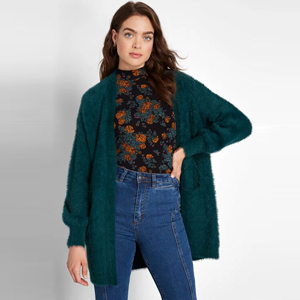 Emerald green fuzzy cardigan from ModCloth photo
