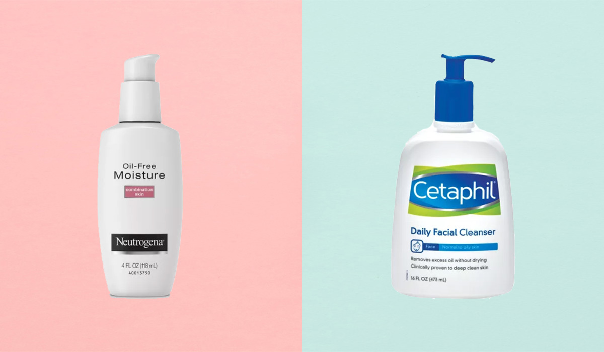 Neutrogena moisturizer and Cetaphil facial cleanser photo