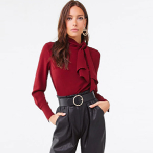 Red tie-neck blouse from forever 21 photo