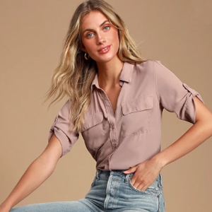Mauve button-up blouse from Lulus photo