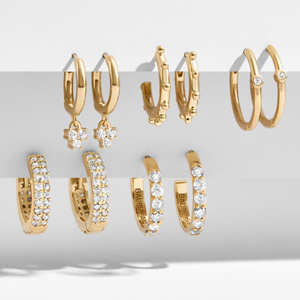Five small gold hoop earrings from Baublebar photo