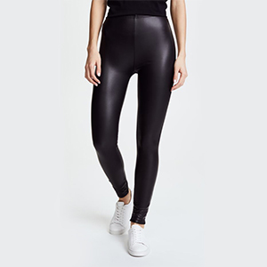 Shiny black leggings with white shoes from Shopbop photo