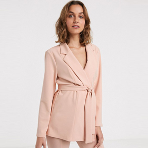 Blush pink wrap blazer paired with matching pants from ASOS photo