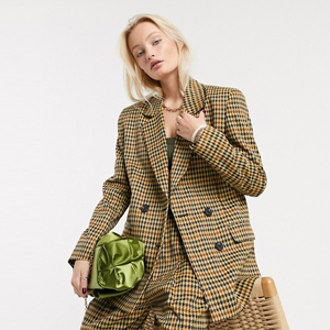 Checkered print suit blazer with matching pants from ASOS photo