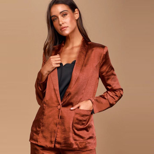 Satin blazer in rust brown with black cami from Lulus photo