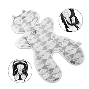 Gray and white baby stroller liner from Amazon photo