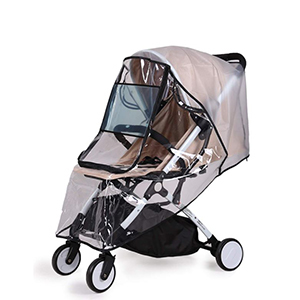 Black and beige stroller with a rain cover from Amazon photo