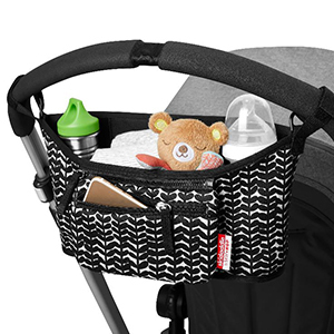 Black and white stroller caddy from Walmart photo