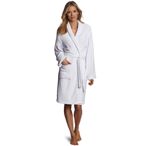 Model wearing a white spa robe from Amazon photo
