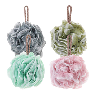 Set of four loofah sponges in four colors from Amazon photo