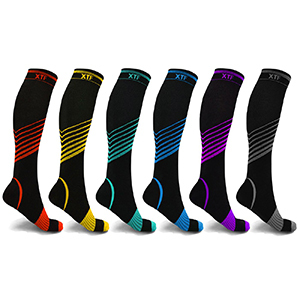 Black and multicolored compression socks from Walmart photo