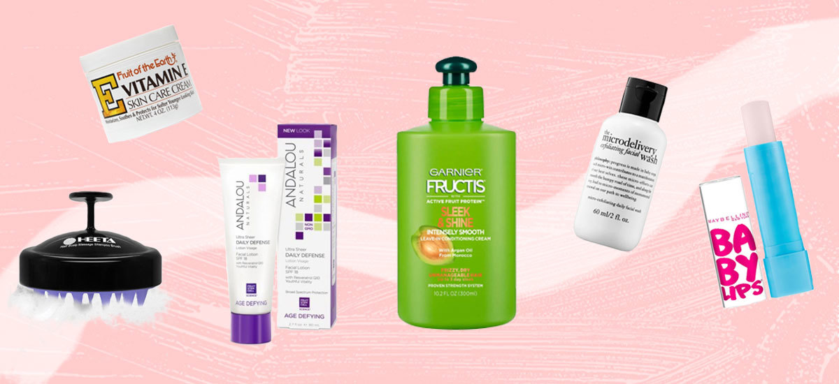 Colloage of beauty products for dry skin from brands including Philosophy and Garnier Fructis