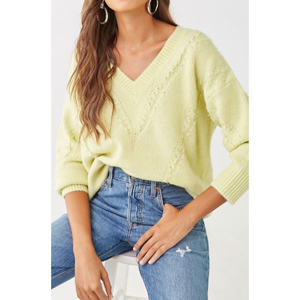 Yellow-green ribbed V-neck sweater from Forever 21 photo