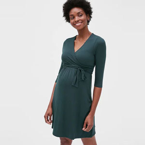 Dark green mini wrap dress with quarter sleeves from Gap photo
