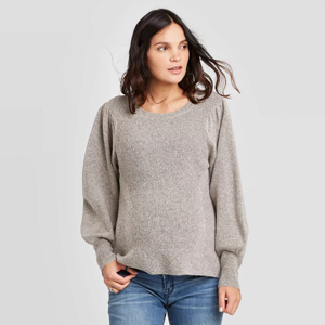 Tan textured sweater with statement sleeves by Ingrid & Isabel from Target photo