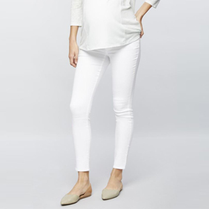 White skinny maternity jeans from Motherhood photo