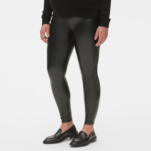 Black faux leather leggings from Gap photo