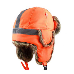 The Hat Depot Safety Reflective Faux Fur Aviator Trapper Hat photo