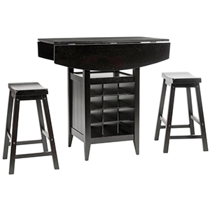 Dark wood bar table and stools from The Home Depot photo