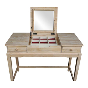 Unstained wood vanity set from The Home Depot photo