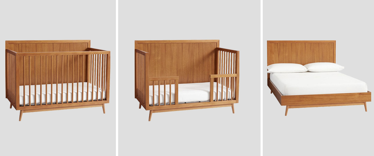 Mid-Century crib, toddler bed, and full-size bed from West Elm photo
