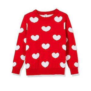 Kid Nation Girls' Love Hearts Jacquard Knit Sweater photo
