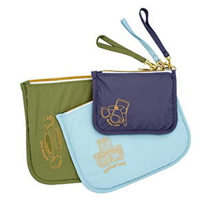 Green, blue, and purple pouches from Amazon photo