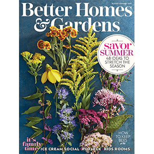August 2019 BH&G magazine cover with flowers on it photo