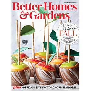 October 2019 cover of Better Homes & Gardens magazine with caramel apples photo