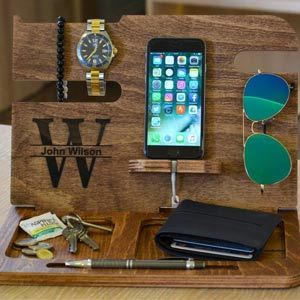 Men's Wood Valet Stand, Docking Station from Etsy photo